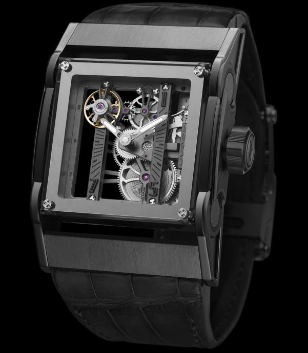 HYSEK Furtif 44 mm Squelette Watch with manual wound skeleton movement featuring charbonnage finish