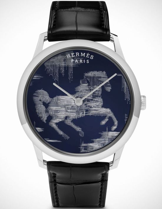 Hermès Slim d'Hermès Cheval Ikat Limited Edition watch with white gold case