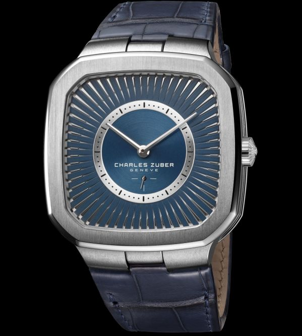 Charles Zuber Perfos Automatic Watch, New Version Featuring an Iridescent Silver-Blue Dial