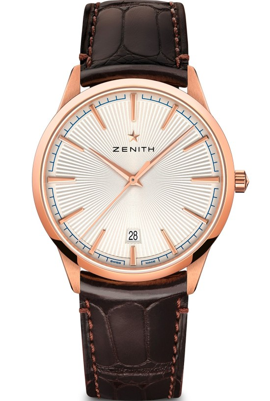 zenith ELITE CLASSIC – 40.5MM rose gold case silver toned dial