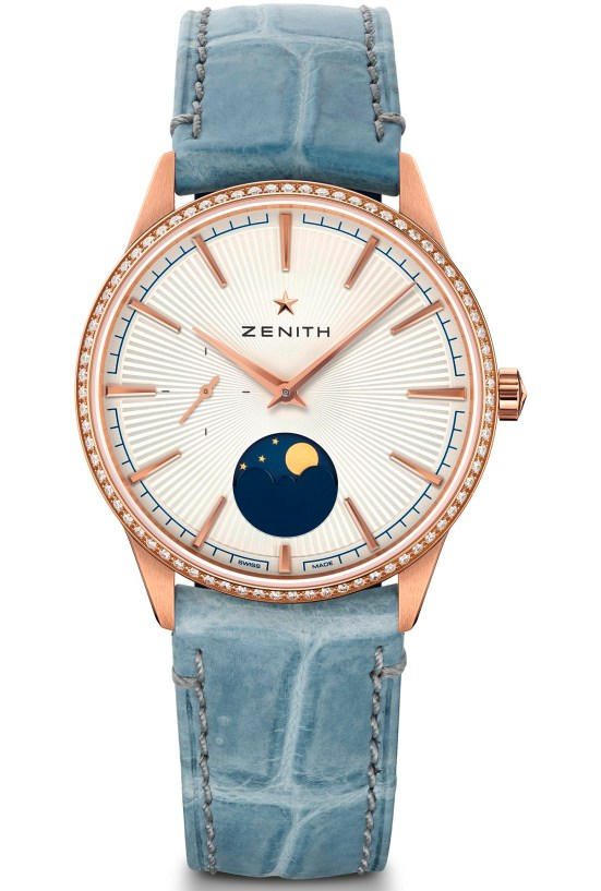 zenith ELITEMOONPHASE- 36MM rose gold case diamond set bezel silver toned dial