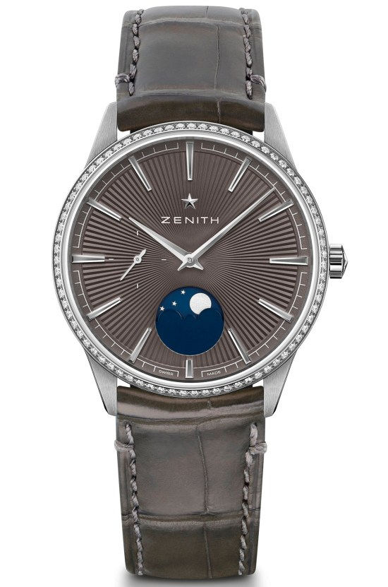 zenith ELITEMOONPHASE- 36MM slate grey dial diamond set bezel