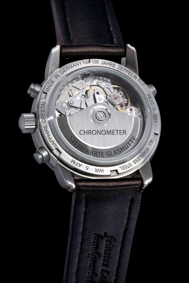 """caseback view of ZEPPELIN Chronograph Chronometer """"100 Jahre Zeppelin"""", Sternwarte Glashuette, Ref. 7620"""