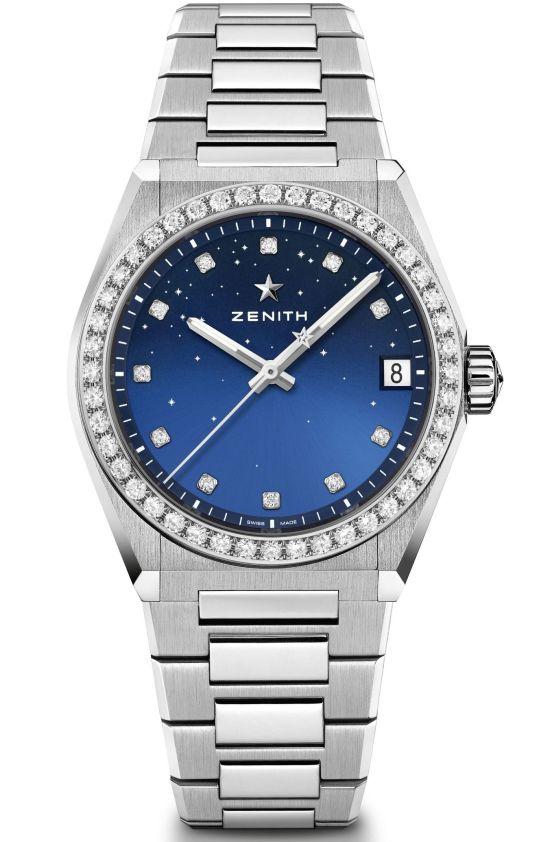 Zenith DEFY Midnight models 2 gradient blue dial diamond set bezel