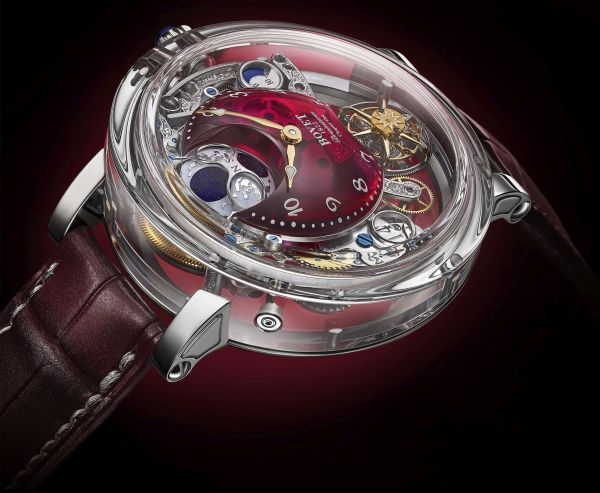 """BOVET 1822 Récital 26 Brainstorm® Chapter One Limited Edition, Sapphire """"Writing Slope"""" Case, Flying Tourbillon, Three-Dimensional Moon Phase, Big Date, 10 Days' Power Reserve, Red Quartz Dial"""
