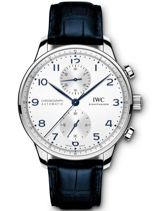 IWC Schaffhausen Portugieser Chronograph, Ref. IW371605: Stainless-steel case, silver-plated dial, blue hands and appliqués, black alligator leather strap.