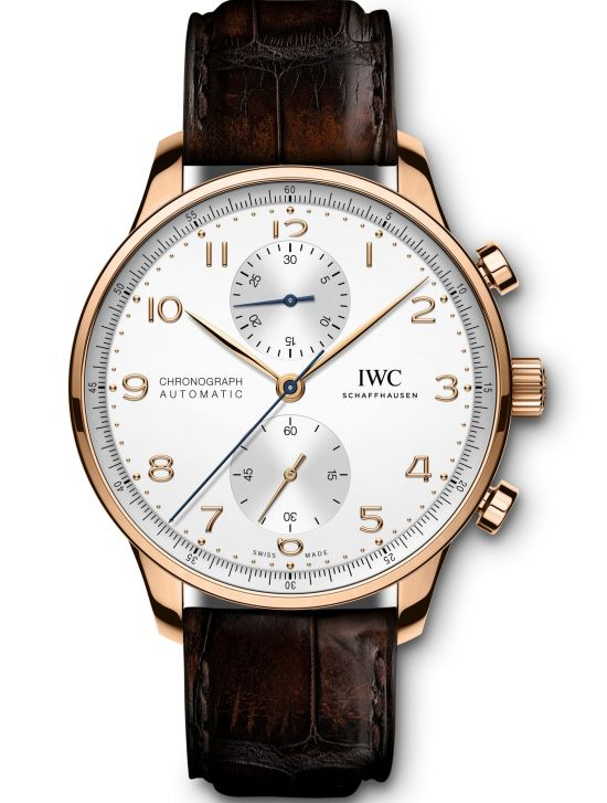 IWC Schaffhausen Portugieser Chronograph, Ref. IW371611:18-carat 5N gold case, silver-plated dial, gold-plated hands, 18-carat gold appliqués, brown alligator leather strap by Santoni.