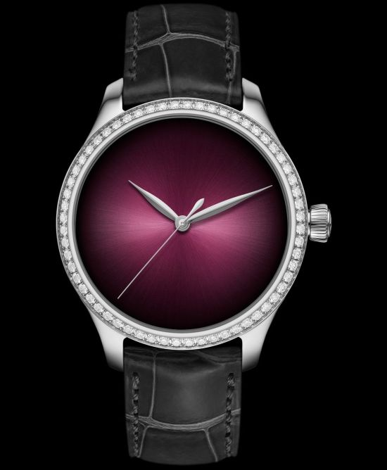 H. Moser & Cie. Endeavour Centre Seconds Diamonds Concept, Reference 1200-1208, steel model, diamond-set bezel, Burgundy fumé dial, grey alligator leather strap, limited edition of 100 pieces