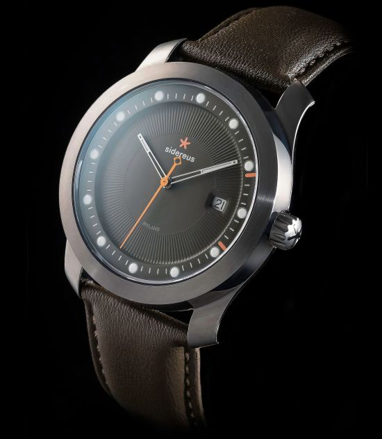 Sidereus Knowth Watch with Ion-plated Grey Finish and Fawn Grey Dial