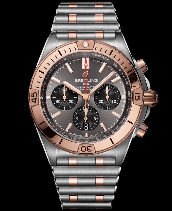 Breitling Chronomat Collection_two-tone-chronomat-b01-42-with-an-anthracite-dial-and-black-subdials-highlighted-by-an-18-k-red-gold-bezel-crown-and-pushers_ub0134101b1u1