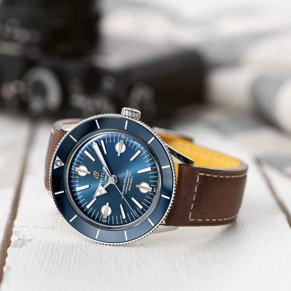 Superocean Heritage '57 with a blue dial and a brown vintage-inspired leather strap_REF A10370161C1X1