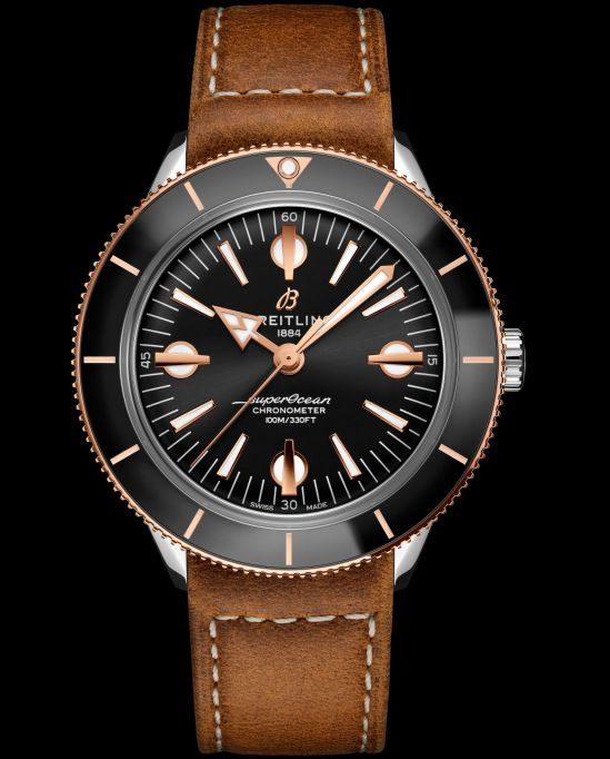 Breitling Superocean Heritage '57 Capsule Collection_two-tone-superocean-heritage-57-with-a-black-dial-and-gold-brown-vintage-inspired-leather-strap_u10370121b1x1
