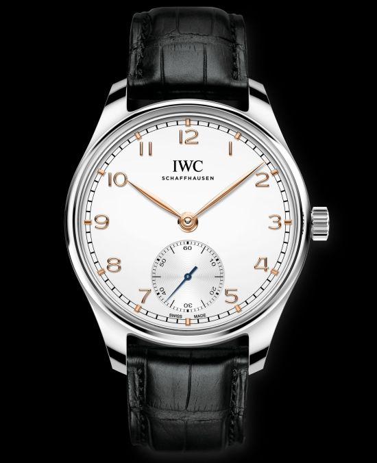 IWC Schaffhausen Portugieser Automatic 40, Ref. IW358303: Stainless steel case, silver-plated dial, gold-plated hands and appliqués, black alligator leather strap.