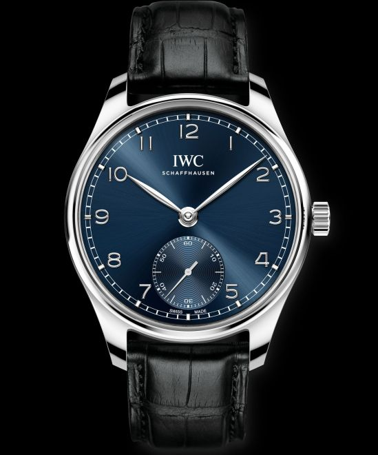 IWC Schaffhausen Portugieser Automatic 40, Ref. IW358305: Stainless steel case, blue dial, rhodium-plated hands and appliqués, black alligator leather strap.
