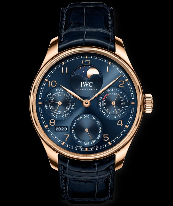 IWC Schaffhausen Portugieser Perpetual Calendar Ref. IW503312 Boutique Edition: 18-carat Armor Gold® case, blue dial, gold-plated hands, 18-carat gold appliques, blue alligator leather strap by Santoni.