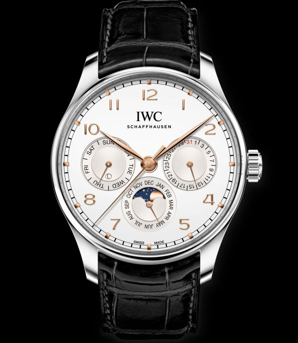 IWC Schaffhausen Portugieser Perpetual Calendar 42, Ref. IW344203: Stainless steel case, silver-plated dial, gold-plated hands and appliques, black alligator leather strap by Santoni.