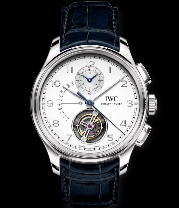 IWC Schaffhausen Portugieser Tourbillon Rétrograde Chronograph, Ref. IW394006: Platinum case, silver-plated dial, rhodium-plated hands and appliques, blue alligator leather strap by Santoni.