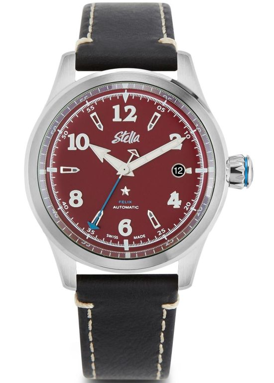 Stella Felix Downtown Red: Matte Oxblood Dial, Super LumiNova® C1 and C3 on hands and indices, Signature black enamel crown with blue star, Four piece case construction with black PVD case body; Washed and oiled full grain leather strap in black