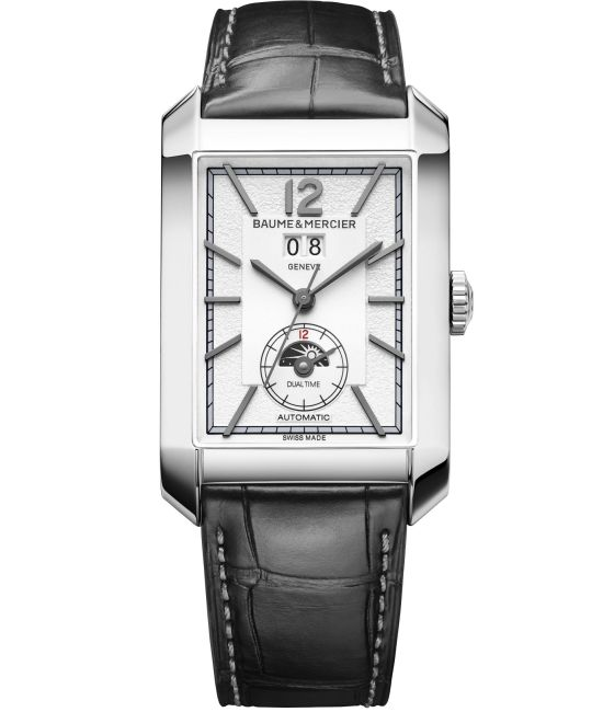 Baume & Mercier Hampton Automatic Big Date with Dual Time, Large – Steel Case,Opaline and grained silver-coloured dial and Alligator Strap
