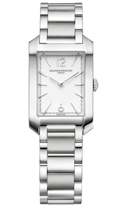 Baume & Mercier Hampton Quartz Small – Steel Case, Opaline silver-coloured dial, Steel Bracelet, Reference M0A10473