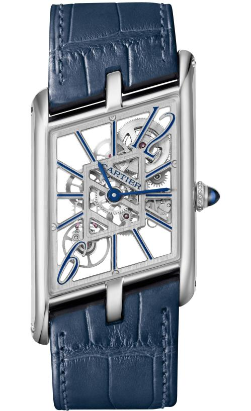 Cartier Privé Collection, the New Tank Asymétrique Skeleton Watch: Extra-large model, 47,15 x 26.2 mm, thickness: 7.82 mm; Platinum case; Crown set with a sapphire cabochon; Blue and black alligator leather straps; Limited and numbered edition of 100 pieces