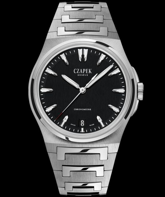 Czapek & Cie Antarctique, The Terre Adélie Model with Steel case, Black Ink Dial and Integrated stainless steel bracelet