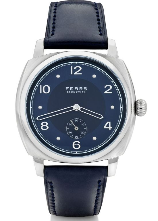 Fears Brunswick - Fears Blue dial on a Fears Blue Bristol Leather strap - pack shot