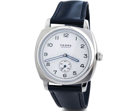 Fears Brunswick - Polar White dial on a Fears Blue Bristol Leather strap - pack shot (angle)