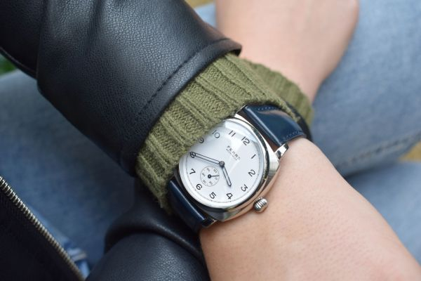 Fears Brunswick watch- Polar White dial on a Fears Blue strap - hands on