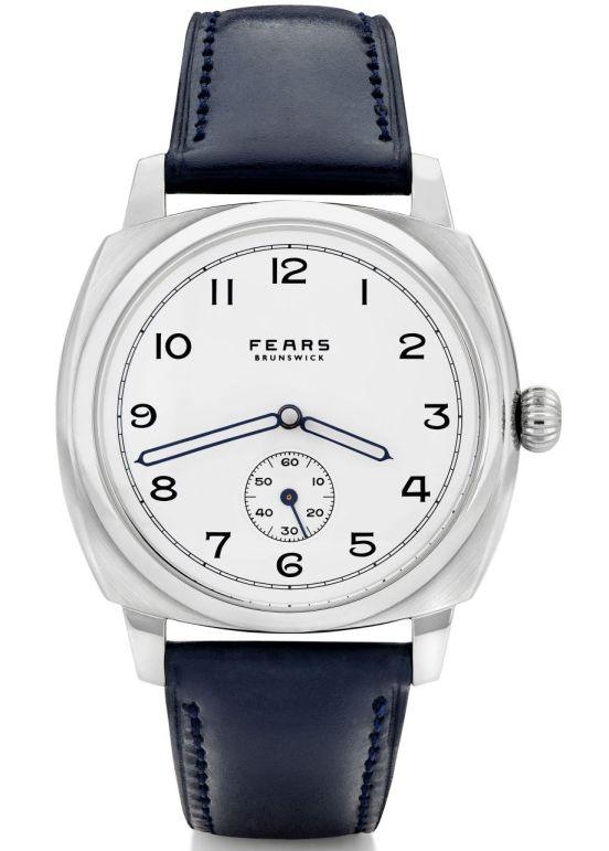 Fears Brunswick - Polar White dial on a Fears Ultra Dark Blue Bristol Leather strap - pack shot