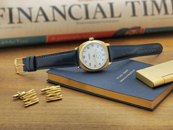 Fears Brunswick _Midas_ - Enamel White dial on a Fears Ultra Dark Blue Bristol Leather strap - on side