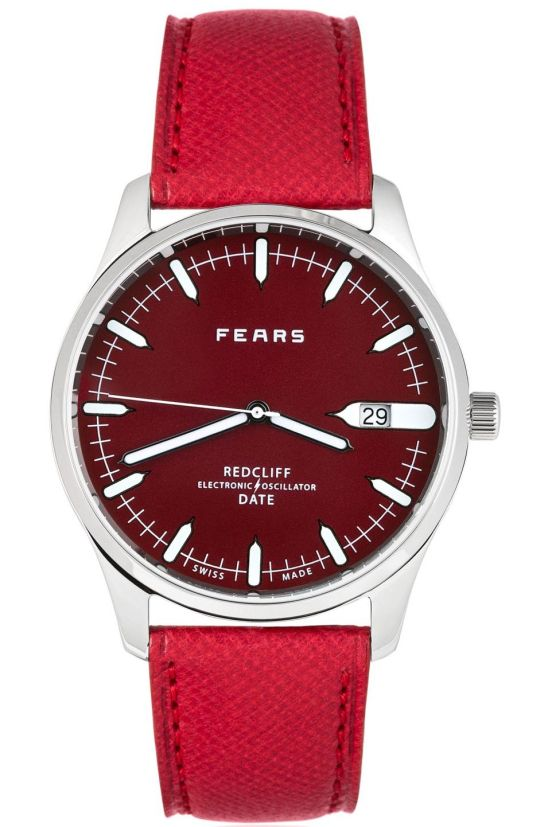 Fears Redcliff Date - Passport Red dial on a Dukes Red goat's skin strap
