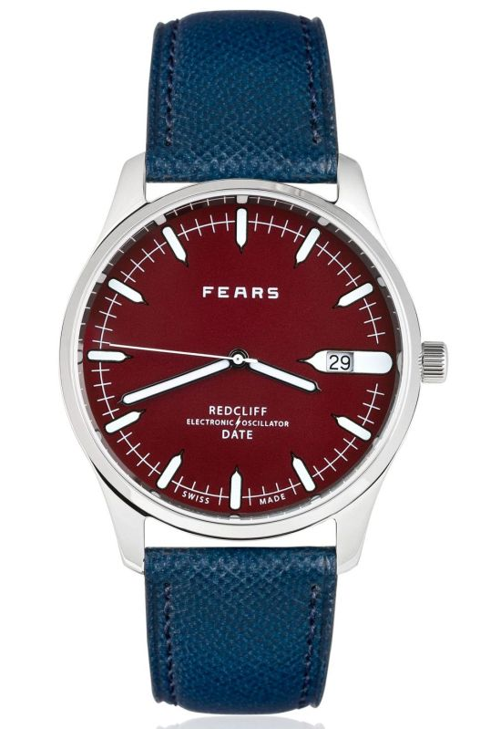 Fears Redcliff Date - Passport Red dial on a Fears Blue goat's skin strap