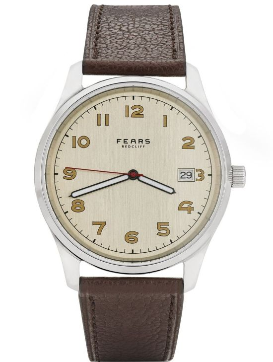 Fears Redcliff _Streamline_ - Forties Silver dial on a Mink Brown Goat's Leather strap - pack shot