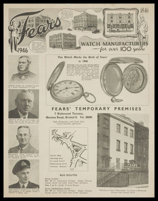 Fears watches advertisement during its centenary, circa 1946