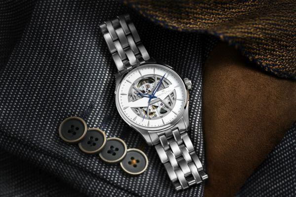 Hamilton Jazzmaster Skeleton 40mm, Reference H42535110: Stainless steel case, Skeletonized white dial, Stainless steel bracelet