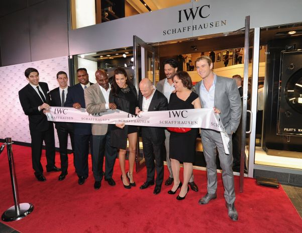 NEW YORK, NY - APRIL 25:  (L-R) North American President for IWC Schaffhausen Gianfranco D'Attis, Matthew Fox, Larry Holmes, Evander Holyfield, Adriana Lima, CEO of IWC Schaffhausen Georges Kern, Joe Manganiello, Miya Ali and Chris Hemswort attend the IWC Flagship Boutique New York City Grand Opening at IWC Boutique on April 25, 2012 in New York City.   (PHOTOPRESS/IWC/Larry Busacca)