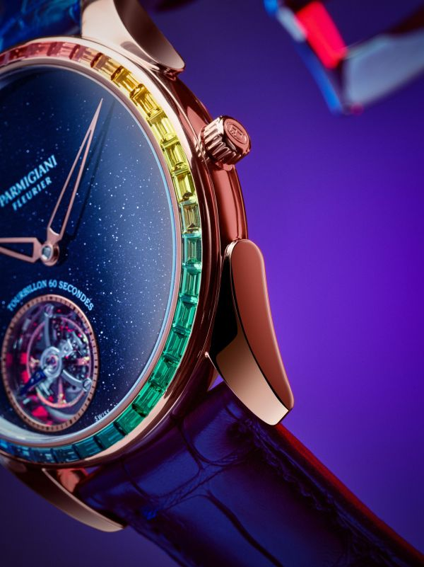 "Parmigiani Fleurier Tonda 1950 Moonbow (Tonda 1950 Tourbillon Rose Gold Set Rainbow Blue Aventurine ""Galaxy"")"