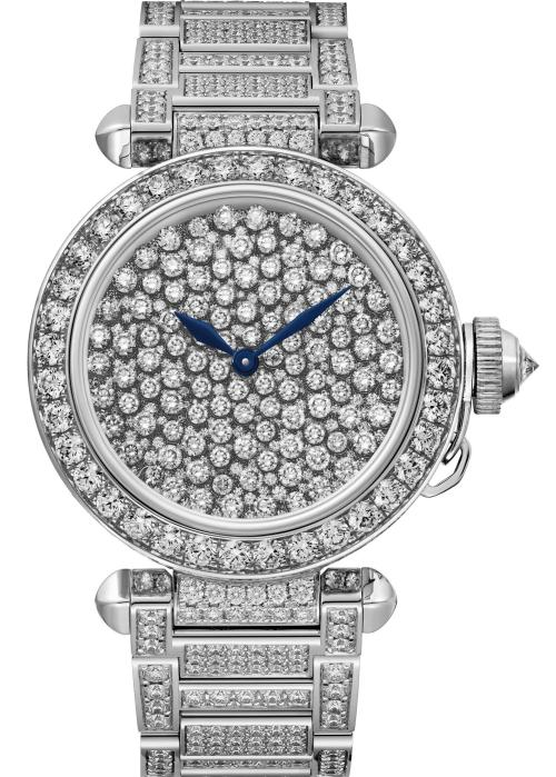 PASHA DE CARTIER WATCH: 35 mm, thickness: 9.90 mm; 18K white gold; Crown set with a brilliant-cut diamond (0.27 ct); Dial set with 318 vibrant brilliant-cut diamonds (3.10 cts); Case and bracelet set with 625 brilliant-cut diamonds (10.10 cts); Manufacture mechanical movement with automatic winding 530 MC; Limited and numbered edition of 100 pieces