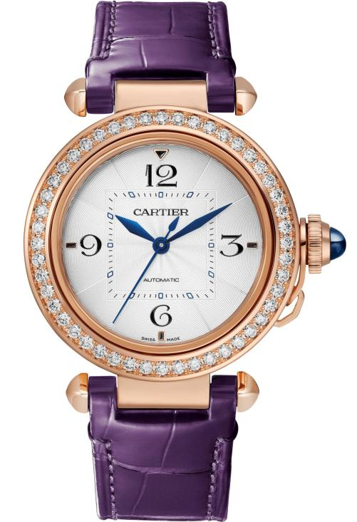PASHA DE CARTIER WATCH: 35 mm, thickness: 9.37 mm; 18K pink gold case; Crown set with a sapphire cabochon; Bezel set with 48 brilliant-cut diamonds (1.15 ct); Interchangeable QuickSwitch navy blue and purple alligator leather straps; Manufacture Mechanical Movement with Automatic Winding 1847 MC