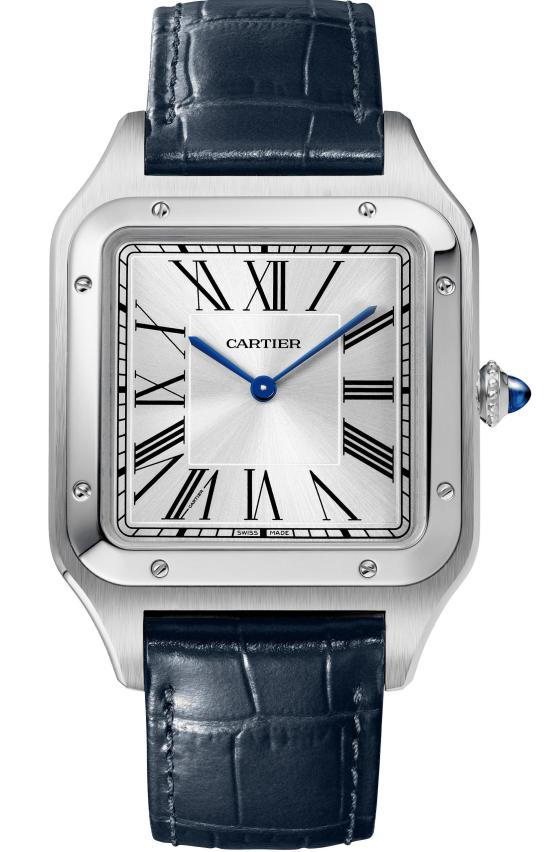 Santos-Dumont XL watch: Extra-large model, 46.6 x 33.9 mm, thickness: 7.5 mm; Steel case; Crown set with a blue synthetic spinel cabochon; Navy blue alligator leather strap