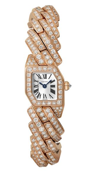 MAILLON DE CARTIER WATCH, 16 x 17 mm, thickness: 6.8 mm, 18K pink gold, Crown set with a brilliant-cut diamond (0.07 ct), Case and bracelet set with 400 brilliant-cut diamonds (8.30 cts), Quartz movement