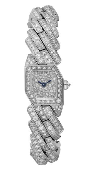MAILLON DE CARTIER WATCH, 16 x 17 mm, thickness: 6.8 mm, 18K white gold, Crown set with a brilliant-cut diamond (0.07 ct), Case, dial and bracelet set with 486 brilliant-cut diamonds (8.64 cts), Quartz movement