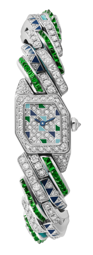 MAILLON DE CARTIER WATCH, 16 x 17 mm, thickness: 6.8 mm, 18K white gold, Crown set with a brilliant-cut diamond (0.07 ct), Case, dial and bracelet set with, 300 brilliant-cut diamonds (4.78 cts), 96 tsavorites and lacquer, Quartz movement, Limited and numbered edition of 20 pieces