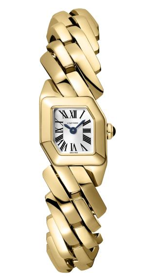 MAILLON DE CARTIER WATCH, 16 x 17 mm, thickness: 6.8 mm, 18K yellow gold, Crown set with a sapphire cabochon, Quartz movement