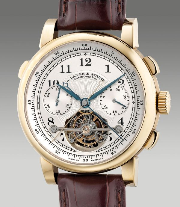 A. Lange &Söhne Reference 712.050 from 2010, limited edition honey gold tourbillon double split seconds chronograph wristwatch with power reserve indication, fusée-and-chain transmission, numbered 3 of a limited edition of 50 pieces. Estimate: HKD 1,400,000-2,000,000