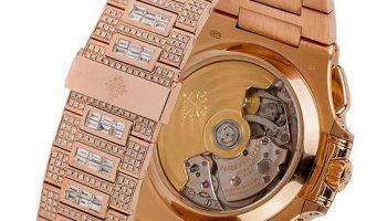 Custom Diamond Set Rose Gold Patek Philippe Nautilus 5980 by TIME 4 DIAMONDS
