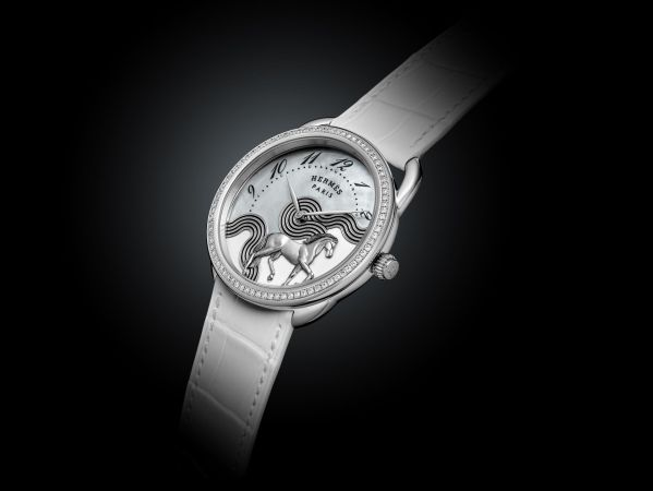 Hermes ARCEAU Cheval Cosmique white gold diamond set version with Enamelled white gold and mother-of-pearl dial