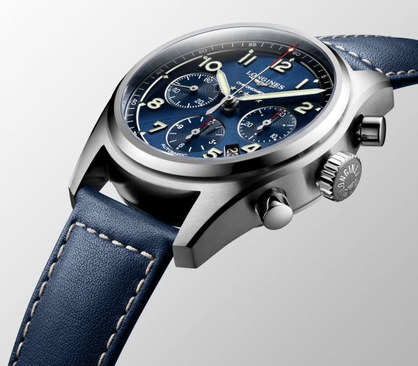 Longines Spirit Collection automatic chronograph blue dial blue strap