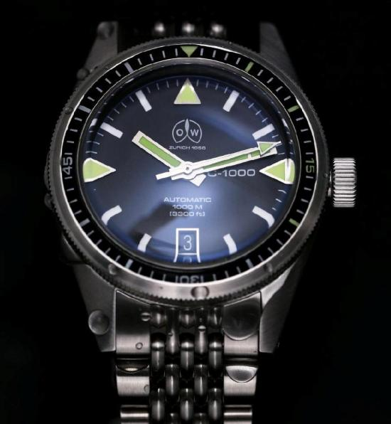 Ollech & Wajs OW C-1000 diving watch with stainless steel bracelet